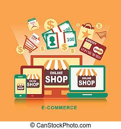 lakás, fogalom, bevásárlás, ikonok, jelkép, gondolat, e-commerce, alapismeretek, tervezés