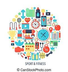 lakás, fogalom icons, szín, állóképesség, -, embléma, ábra, fedő, infographics, karika, sport, template.