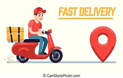 lakás, fogalom, pizza, szolgáltatás, futár, étterem, élelmiszer, roller, sofőr, gyorsan, man., felszabadítás, vektor, motorkerékpár, client., út