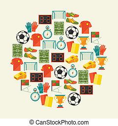 lakás, (football), icons., sport, háttér, futball