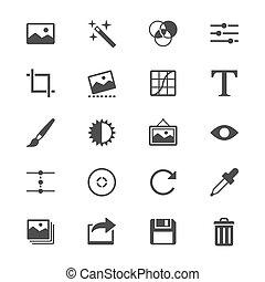 lakás, fotográfia, ikonok