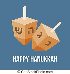 lakás, four-sided, előadott, zsidó, dreidel, hanukkah, fonás, vektor, tervezés, közben, ünnep, tető
