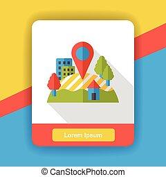lakás, gps, elhelyezés, ikon
