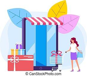 lakás, grafikus, bevásárlás, concept., internet, ábra, vektor, tervezés, online, karikatúra