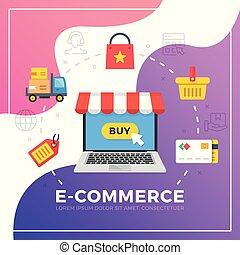 lakás, grafikus, elements., modern, ábra, vektor, tervezés, e-commerce.