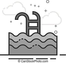 lakás, grayscale, -, ikon, pocsolya, úszás