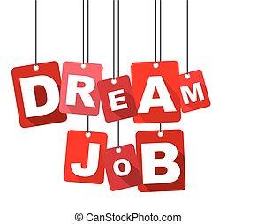 lakás, háló, álmodik, forrás, azt, vektor, tervezés, háttér, job., adapted, piros, design.