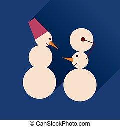 lakás, háló, hosszú, árnyék, snowmen, ikon