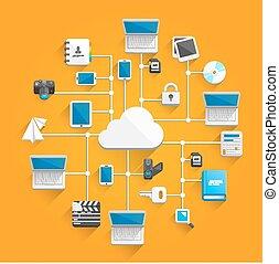 lakás, hálózat, felhő, ikon