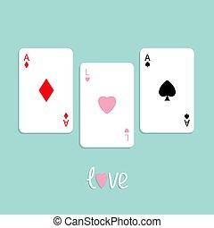 lakás, háttér, kártya, ásó, gyémánt, díszlet tervezés, piszkavas, aláír, szeret, ász, szív, játék