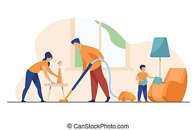 lakás, háztartás, család, együtt, ábra, boldog, vektor