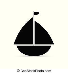 lakás, hajó, vektor, vitorlázás, ikon