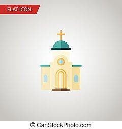 lakás, használt, lenni, építészet, elszigetelt, elem, vektor, tervezés, építészet, templom, vallásos, icon., vallásos, concept., konzerv