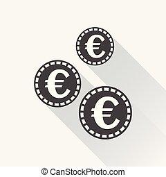 lakás, icon., érmek, ábra, style., vektor, fekete, hosszú, háttér, fehér, érme, shadow., euro