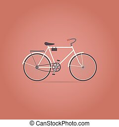 lakás, icon., bicikli, retro, style.