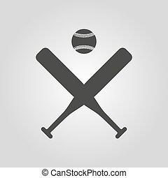 lakás, icon., sport, baseball, jelkép.