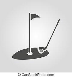 lakás, icon., sport, golf, jelkép.