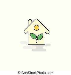 lakás, icon., vektor, épület