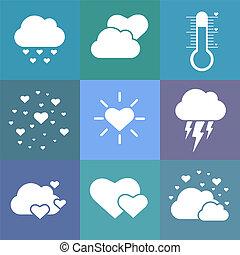 lakás, időjárás, szeret, ikonok