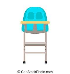 lakás, ikon, élelmiszer, seat., széklet, gyermekkor, magas, vacsora, vektor, design., csecsemő, asztal, szék, totyogó kisgyerek, karikatúra, berendezés, kölyök