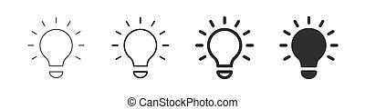 lakás, ikon, egyenes, collection., lámpa, gondolat, set., vektor, -, részvény, mód