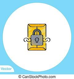 lakás, ikon, jelkép, lakat, aláír, vektor