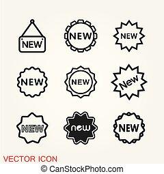 lakás, ikonok, aláír, háttér., vektor, új, icon.