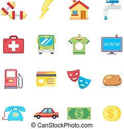 lakás, ikonok, havonként, kiadások, költségek, vektor