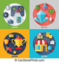 lakás, ikonok, játék, tervezés, háttér, style.