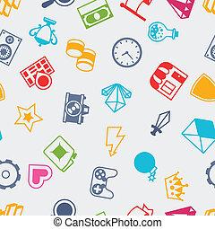 lakás, ikonok, motívum, seamless, játék, tervezés, style.