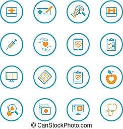 lakás, ikonok, orvosi health, törődik, set., design.
