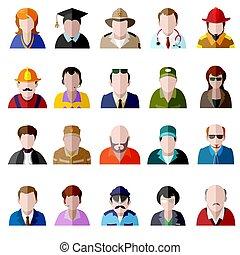 lakás, ikonok, set., férfiak, emberek, avatar, nők, ikon