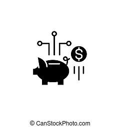 lakás, illustration., aláír, concept., jelkép, megtakarítás, vektor, fekete, ikon