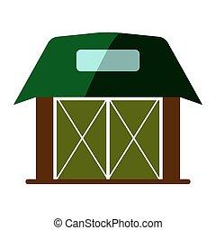 lakás, illustration., faház, elszigetelt, aláír, háttér., vektor, icon., fehér, istálló