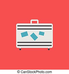 lakás, illustration., jelkép., aláír, poggyász, vektor, ikon