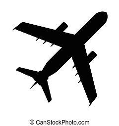 lakás, illustration., jelkép., aláír, vektor, ikon, airplan