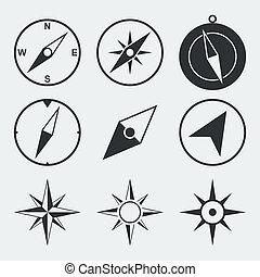 lakás, iránytű, állhatatos, navigáció, ikonok