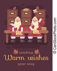lakás, irodalomtudomány, gyermekek, gondolkodó, két, ábra, írás, kids., szent, clauses, letter., válasz, karácsonyi üdvözlőlap, köszönés