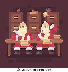 lakás, irodalomtudomány, gyermekek, gondolkodó, két, ábra, írás, szent, clauses, letter., válasz, karácsony, kids.