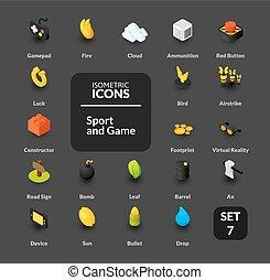 lakás, isometric, állhatatos, ikonok, szín, ábra, vektor, gyűjtés, mód