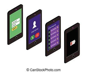 lakás, isometric, állhatatos, mobile telefon, fogalom, user interface, style., ikon