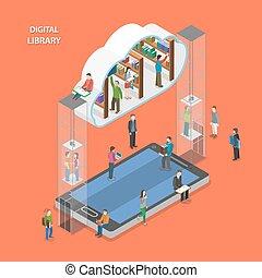 lakás, isometric, concept., könyvtár, vektor, digitális