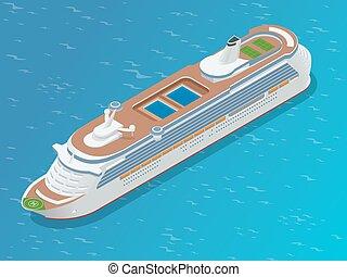 lakás, isometric, modern, személyszállító hajó, ábra, ship., vektor, fényűzés, ocean., cirkálás, 3
