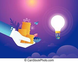 lakás, isometric, vektor, szeret, vezetés, pénz, concept., pénz., gondolat, poly, levegő, látszó, varázs, fertőző, lát, lightbulb., ember, balloon, alacsony