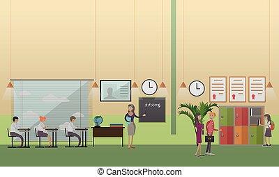 lakás, izbogis, fogalom, hivatal, mód, ábra, vektor