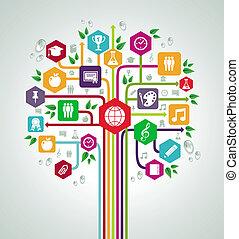 lakás, izbogis, hálózat, ikonok, hát, fa., oktatás