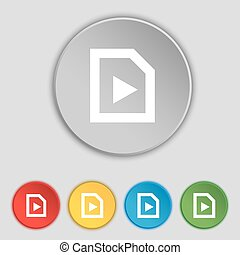 lakás, játék, buttons., jelkép, vektor, öt, cégtábla., ikon