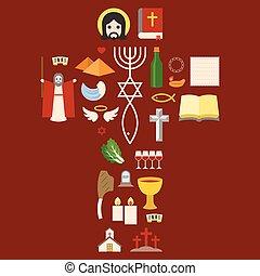lakás, judaizmus, bibliai, pictogram, kivonulás, kereszt, ünnep, zsidó húsvét, tervezés, ikon, aláír, messianic, elrendez
