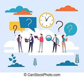 lakás, kérdez, emberek, vektor, kérdez, concept., ábra, tervezés, karikatúra, grafikus, betűk