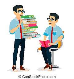lakás, könyvtár, izbogis, klub, tanulás, egyetem, elszigetelt, ábra, kazal, nagy, könyv, szállítás, elméleti, vector., ember, karikatúra, concept., books., student.